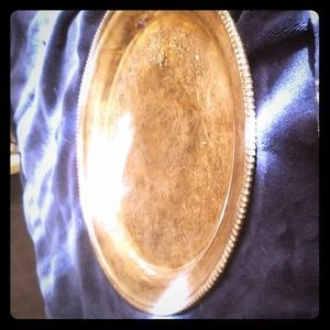 Very tarnished silver platter